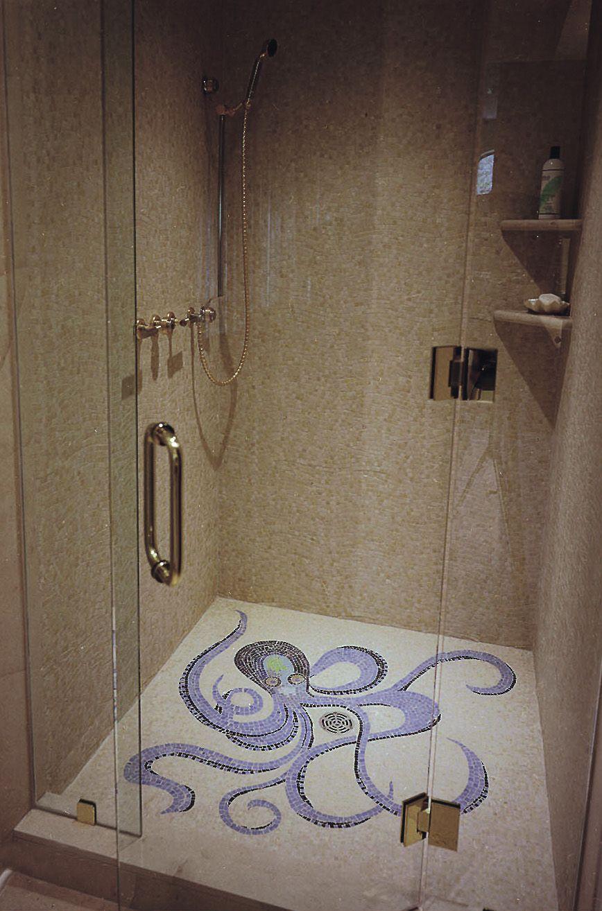 Mosaic Octopus Tile Shower Floor