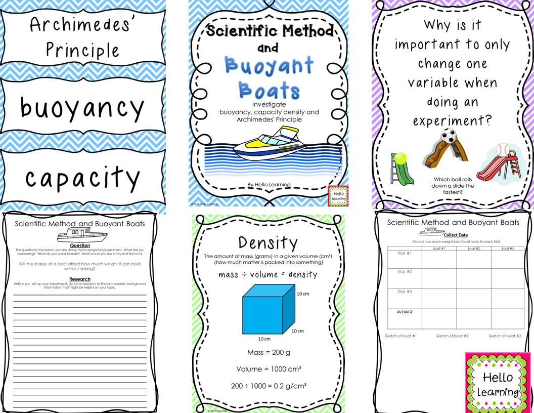 Scientific Method and Buoyant Boats Capacity Density and – Archimedes Principle Worksheet