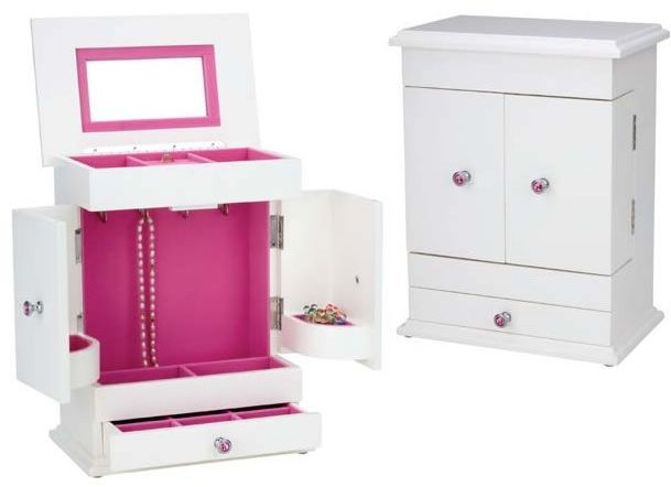 Bella Girls Jewelry Box OpenedPink and White Available at