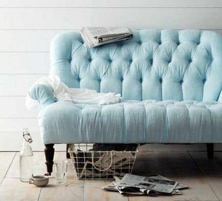Tufted Modern Sofas Furniture Pastel Home Decor Blue Sofa