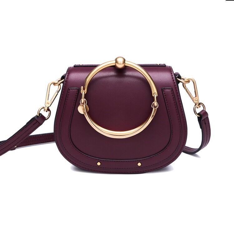 10e6789606 Kelly Small Saddle Genuine Leather Crossbody in Wine *Chloe Nile Bracelet Bag  Dupe*