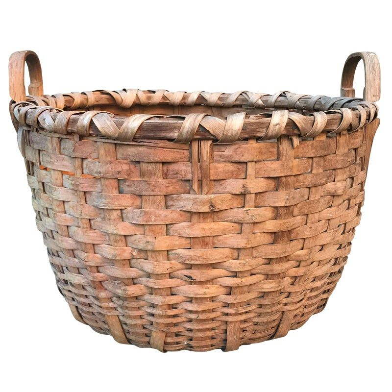 19th Century Splint Oak Bushel Basket Bushel Baskets Vintage Baskets Basket
