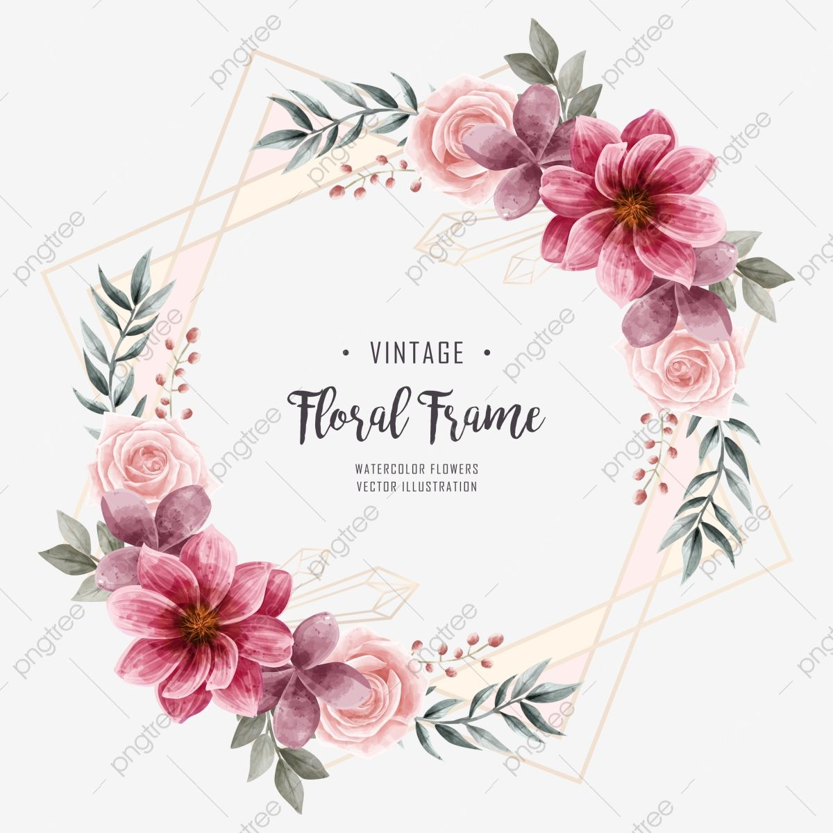 Watercolor Floral Flower Frame Wedding Invitation Watercolor Clipart Background Pattern Png Transparent Clipart Image And Psd File For Free Download Flower Frame Floral Watercolor Watercolor Flower Illustration