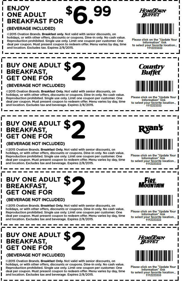 picture regarding The Luxe Buffet Printable Coupon called Pinned February 7th: Instant #breakfast $2 extra at Ryans