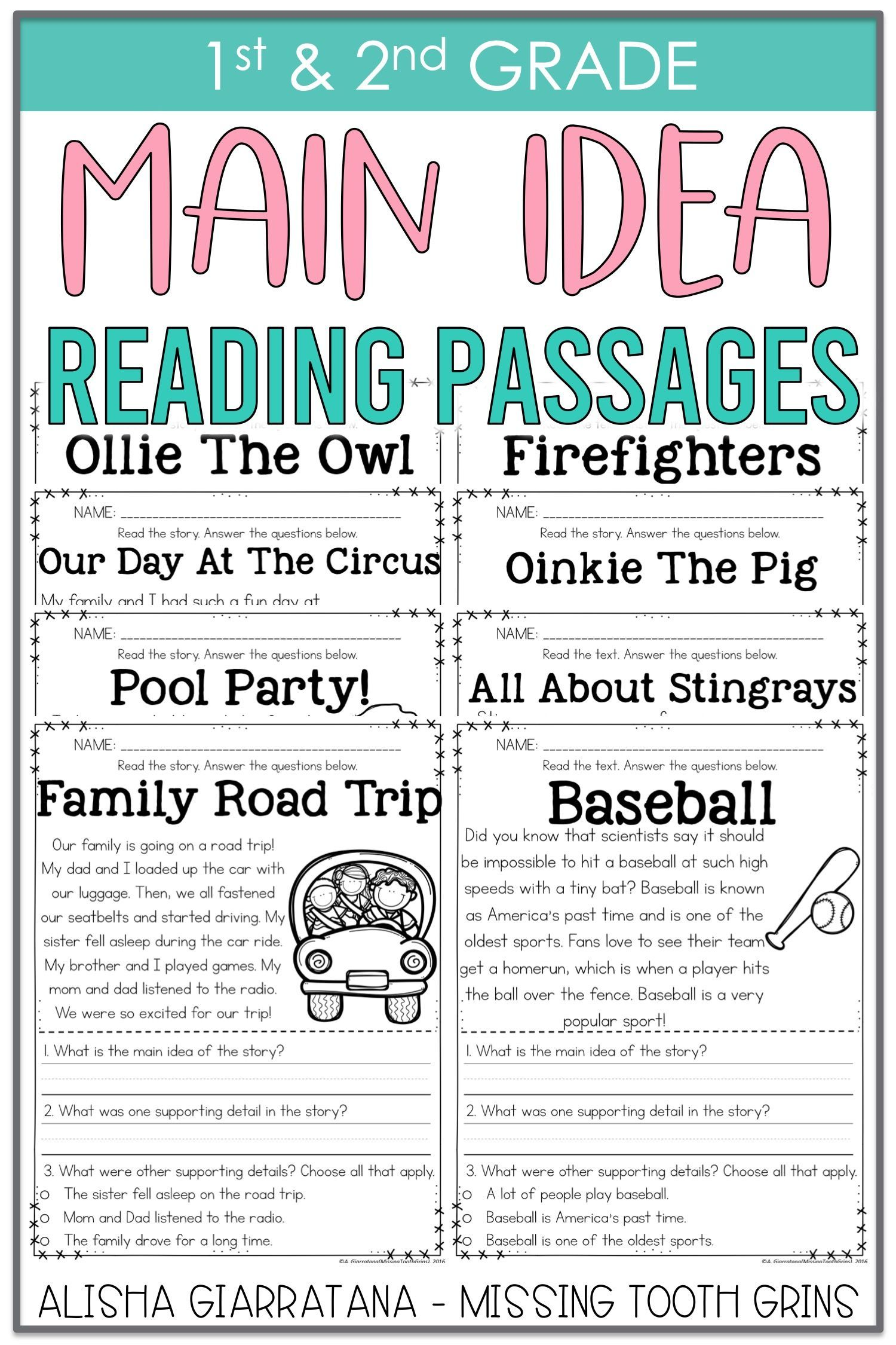 Main Idea Passages In 2020 Guided Reading Resources Main Idea Reading Passages First grade reading passage main idea