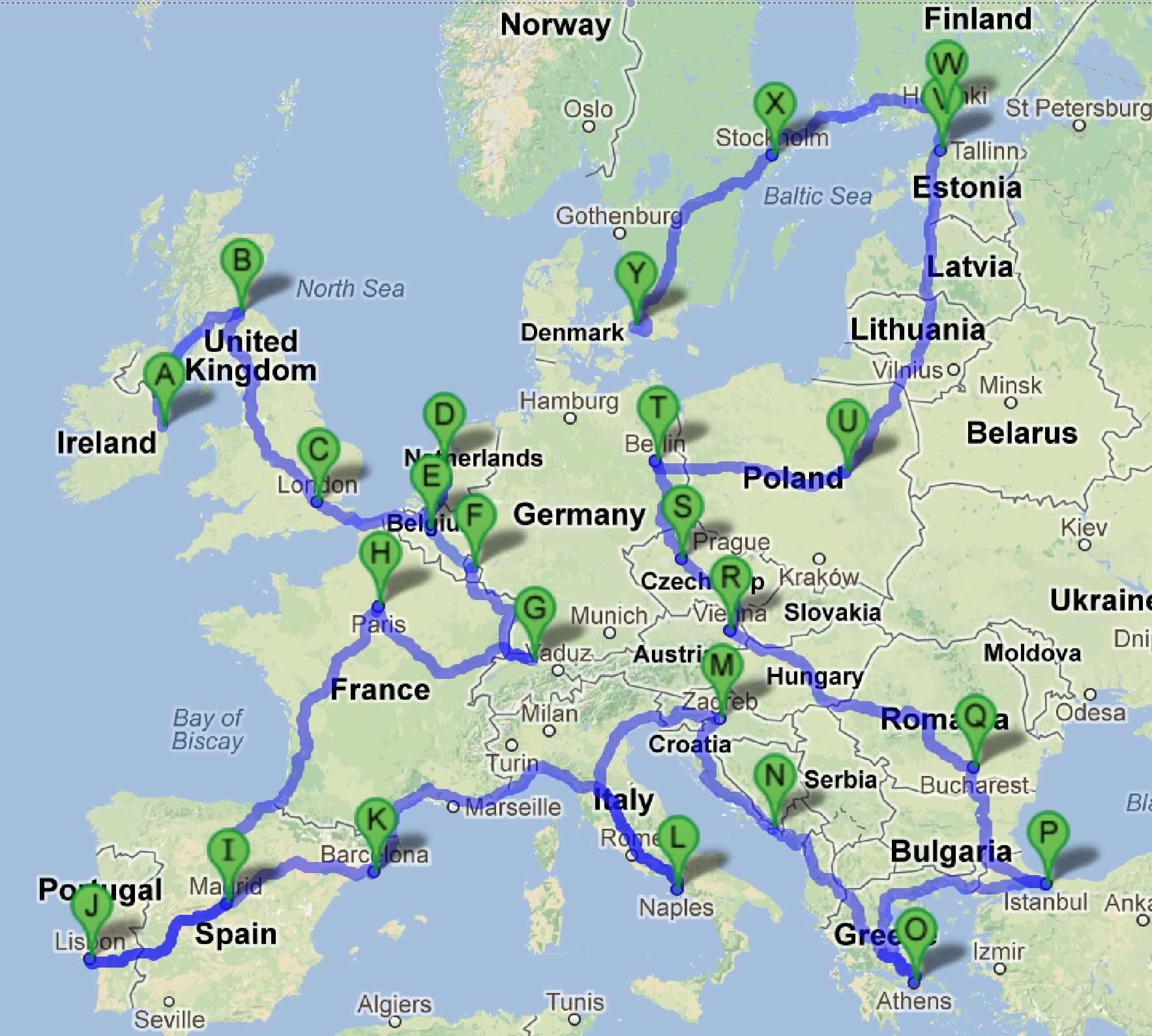 Backpacking Map of Europe seems a little ambitious for