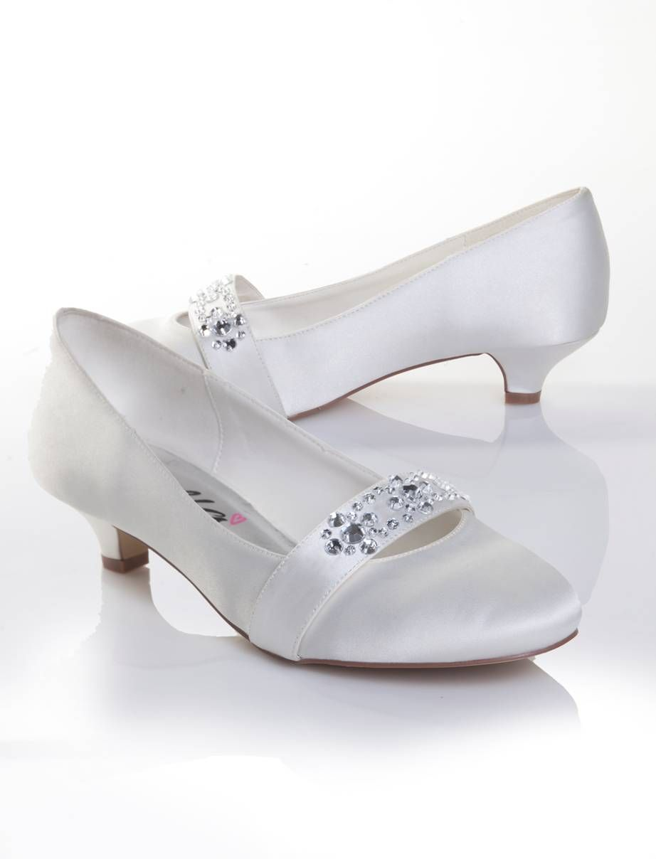 Low Heel Wedding Shoes White Ivory Satin Dyeable Dyeable