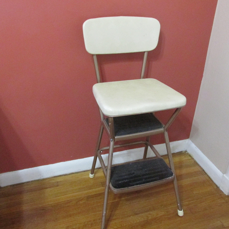 Cosco Step Stool Chair Flip Up Seat Vintage Mid Century Kitchen