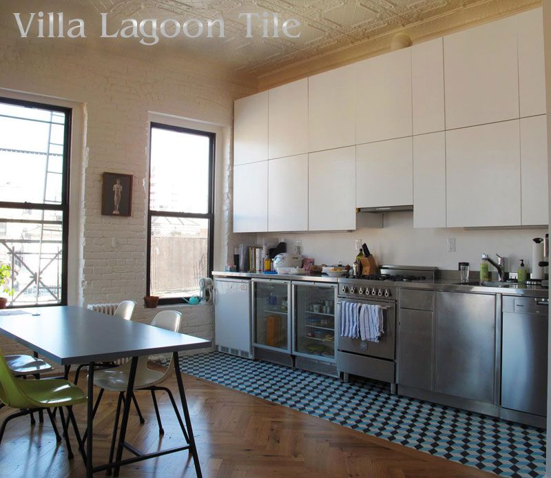 Kitchen Cabinets New York City: A Custom Cubes Cement Tile Kitchen In A New York City