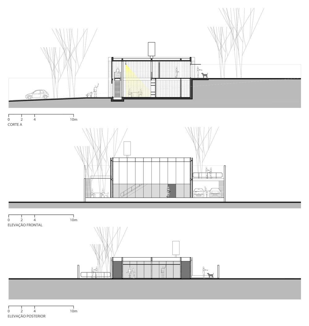 Residência   JM - Estúdio MRGB - cortes e elevações