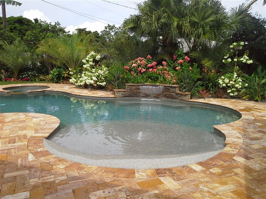 Beach entry pool designs home services fun things pinterest pool designs pool for Swimming pool construction miami