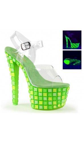 """Pleaser 7/"""" neon green mirrored UV sandals"""