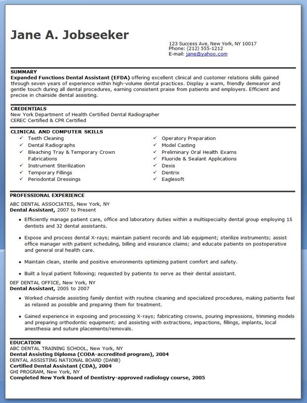 dental assistant resume template - Resume Examples For Dental Assistant