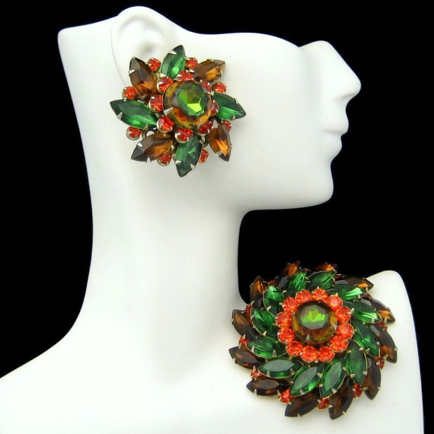 JUDY LEE Vintage Rhinestones Brooch Pin Earrings Green Orange Brown Gold Plated #JudyLee #GotVintage #Vintage #Jewelry