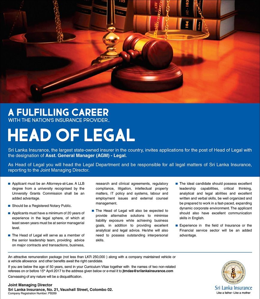Head Of Legal At Sri Lanka Insurance Corporation Career First