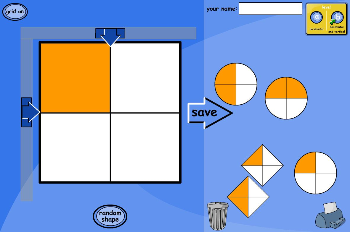 A Tesiboard Activity To Explore Fractions Of Various Shapes Move The Arrows To Shade Different