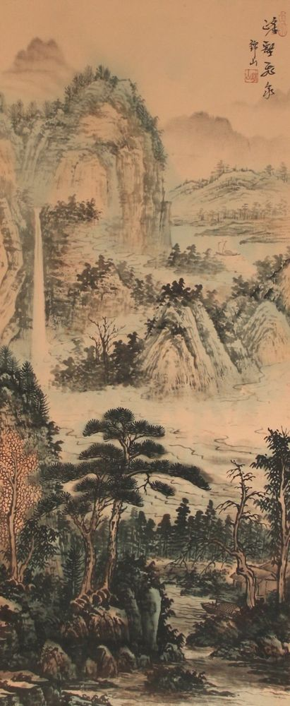 Chinese hanging scroll Landscape painting Written on silk Wall art ...