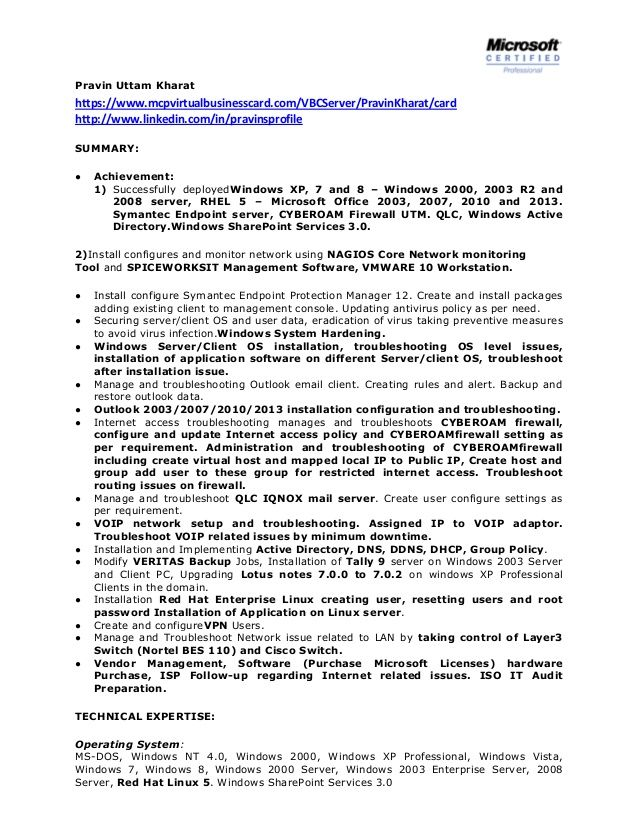 ... pravin uttam kharathttps mcpvirtualbusinesscard vbcserver system - linux  admin resume ...