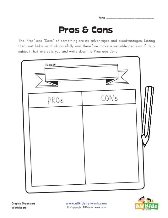 pros and cons graphic organizer ELA, Best Part of Your Day