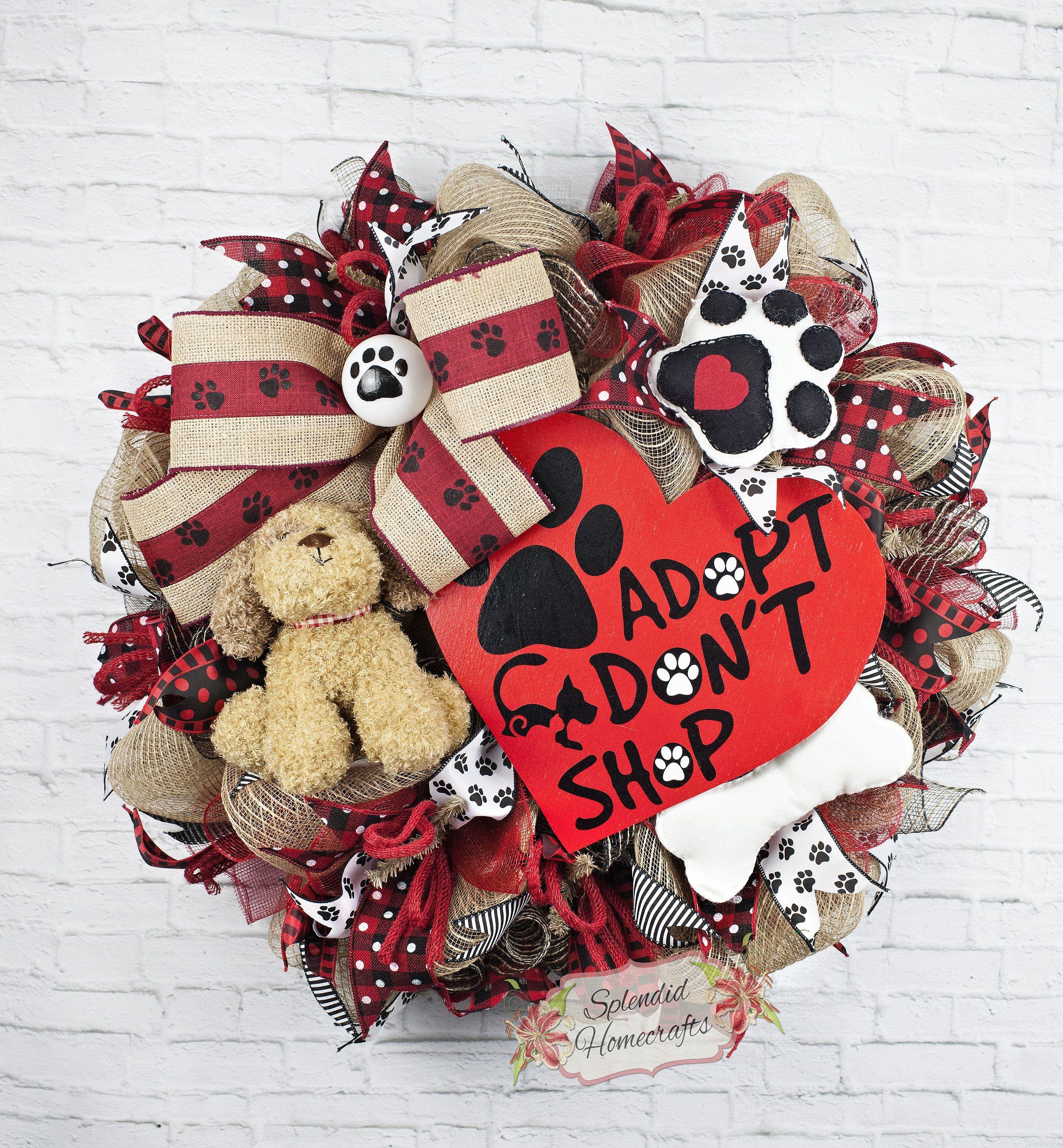 Dog Wreath, Adopt Don't Shop, Dog Mesh Wreath, Pet Wreath