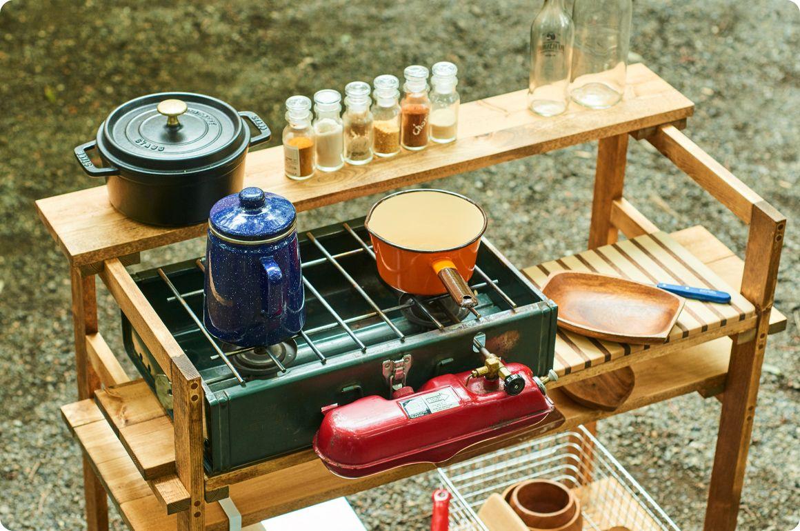 キャンプギアをdiy 変幻自在に使える木製キッチンテーブル Hondaキャンプ キッチンテーブル キャンプ用キッチン キャンプ