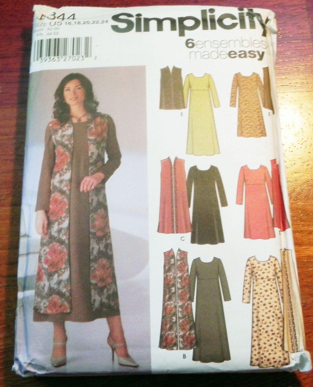 Empire waist Long sleeve dress Duster sleeveless vest layers sewing ...