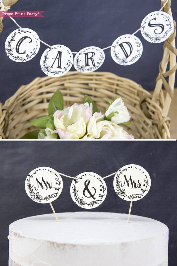 Mr and Mrs Sign, Cupcake Toppers Printable, Wedding Sign, Mr  Mrs