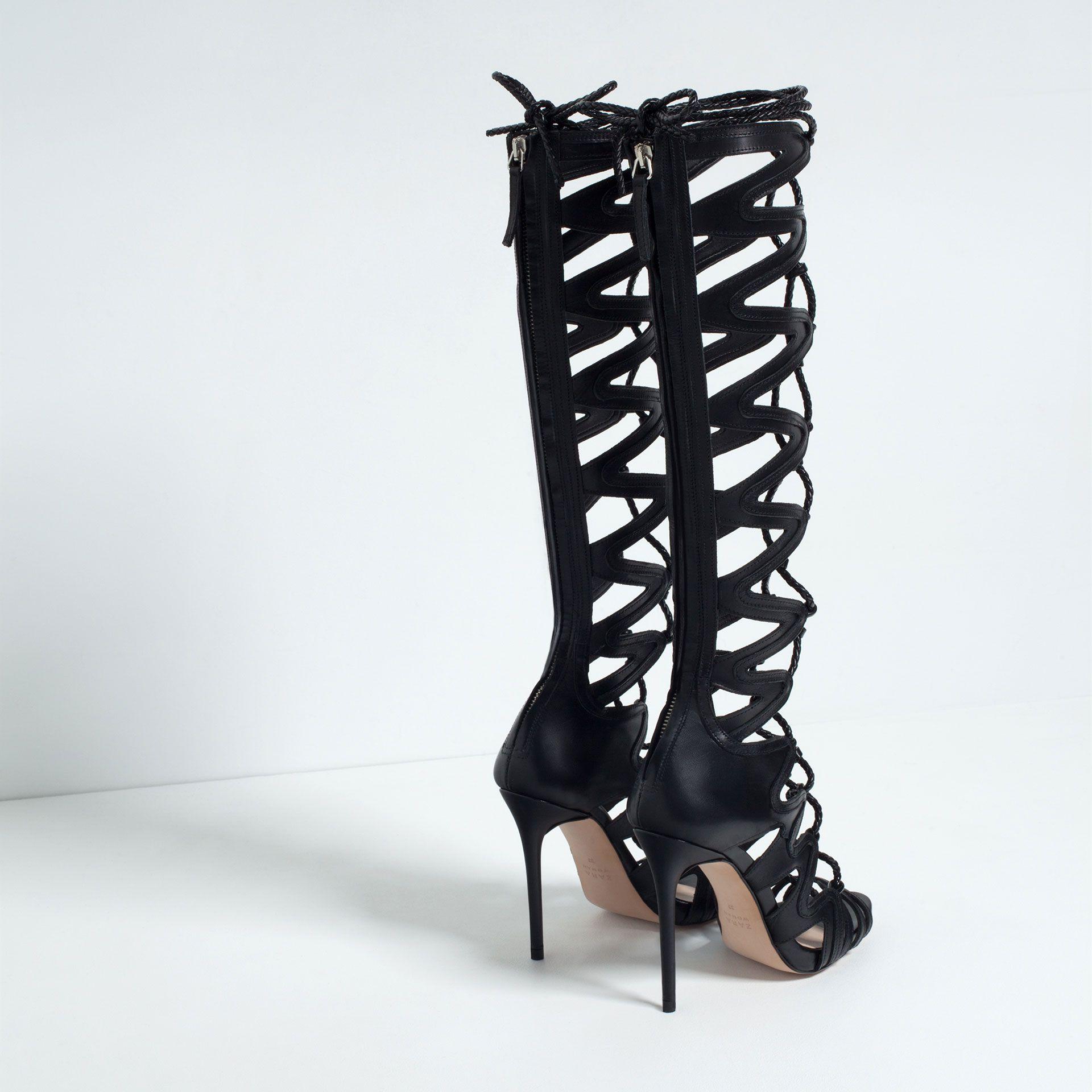 spartiates en cuir talons chaussures et sacs femme nouveaut s zara france zapatos. Black Bedroom Furniture Sets. Home Design Ideas