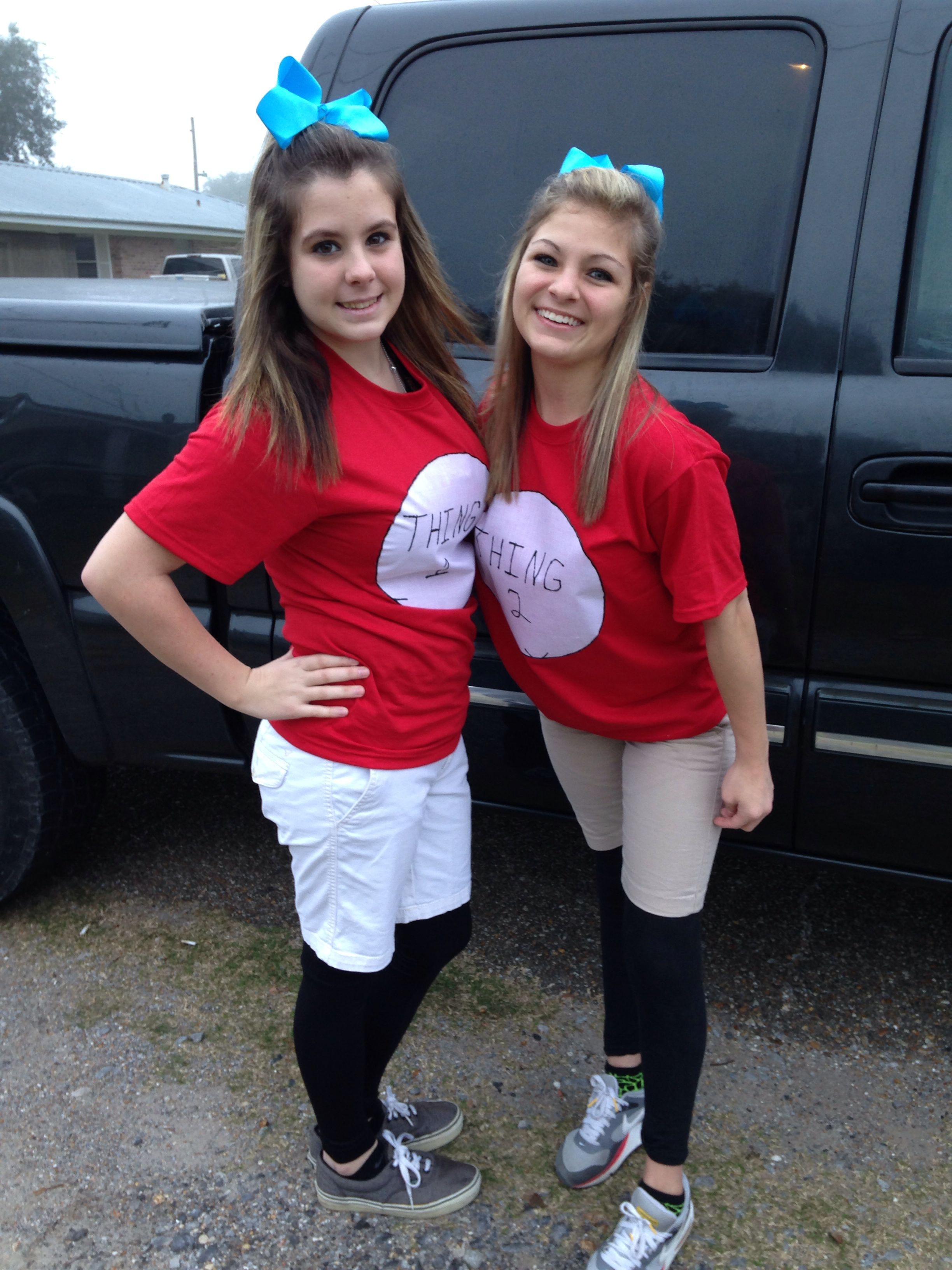 Thing 1 and 2 for twin day Instead of putting blue paint ...