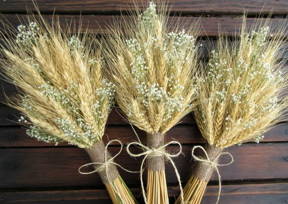 simple summer wheat bridesmaid flower girl bouquet dried wedding bouquet wheat bouquet with. Black Bedroom Furniture Sets. Home Design Ideas