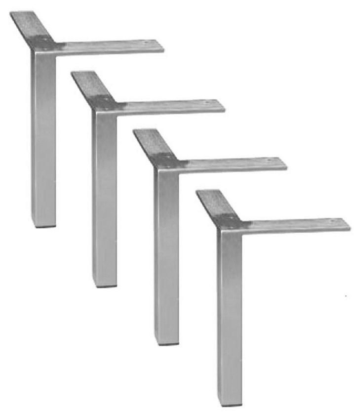 4 DIY Square Brushed Steel/Chrome Bench/Coffee Table/Furniture Legs 50034