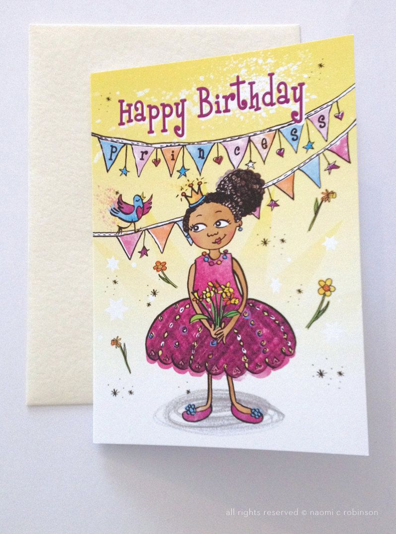 Black Princess Birthday Card Multicultural Greeting Cards Cute Greeting Card For Girls Mixed Race Birthday Card Asian Cards Birthday Cards African Cards