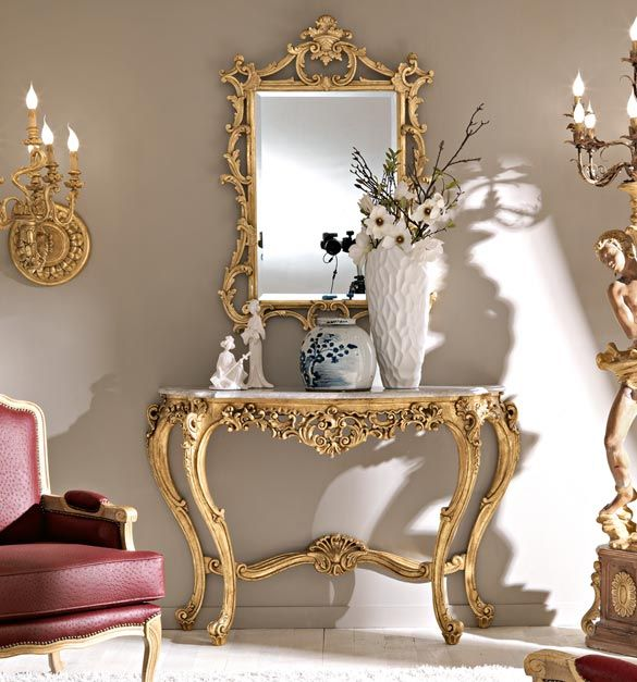 Paris Collection Gold Leaf Console Table And Mirror Set With Marble Top.  Alternative Marble Tops