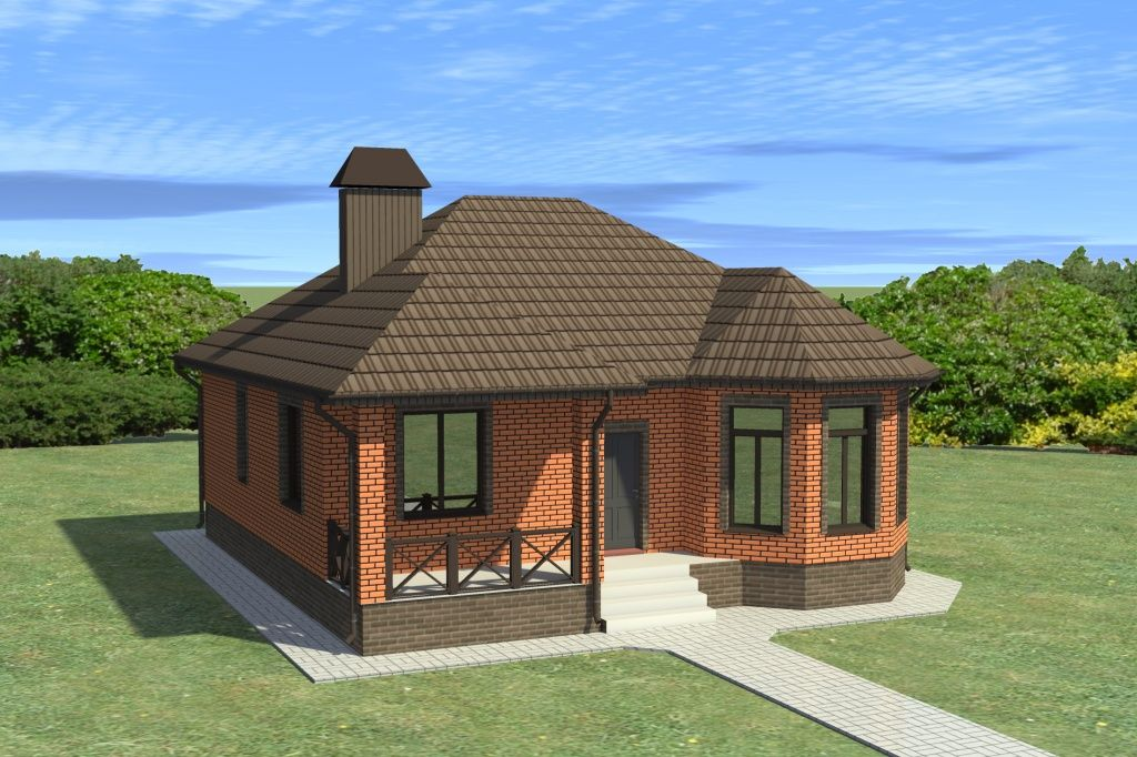 Проект одноэтажного дома | Одноэтажные дома, Кирпичные дома