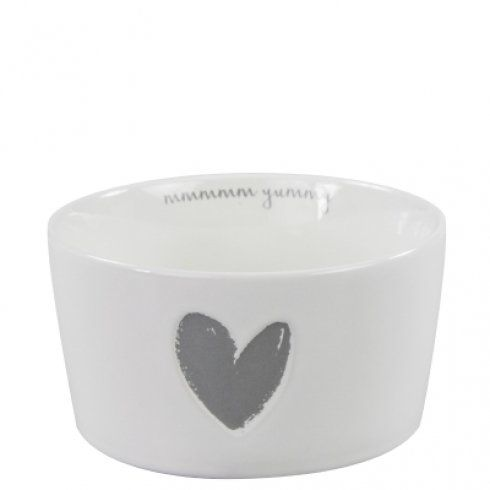 Bastion Collections Bowl White little heart relief in Grey - landhausstile