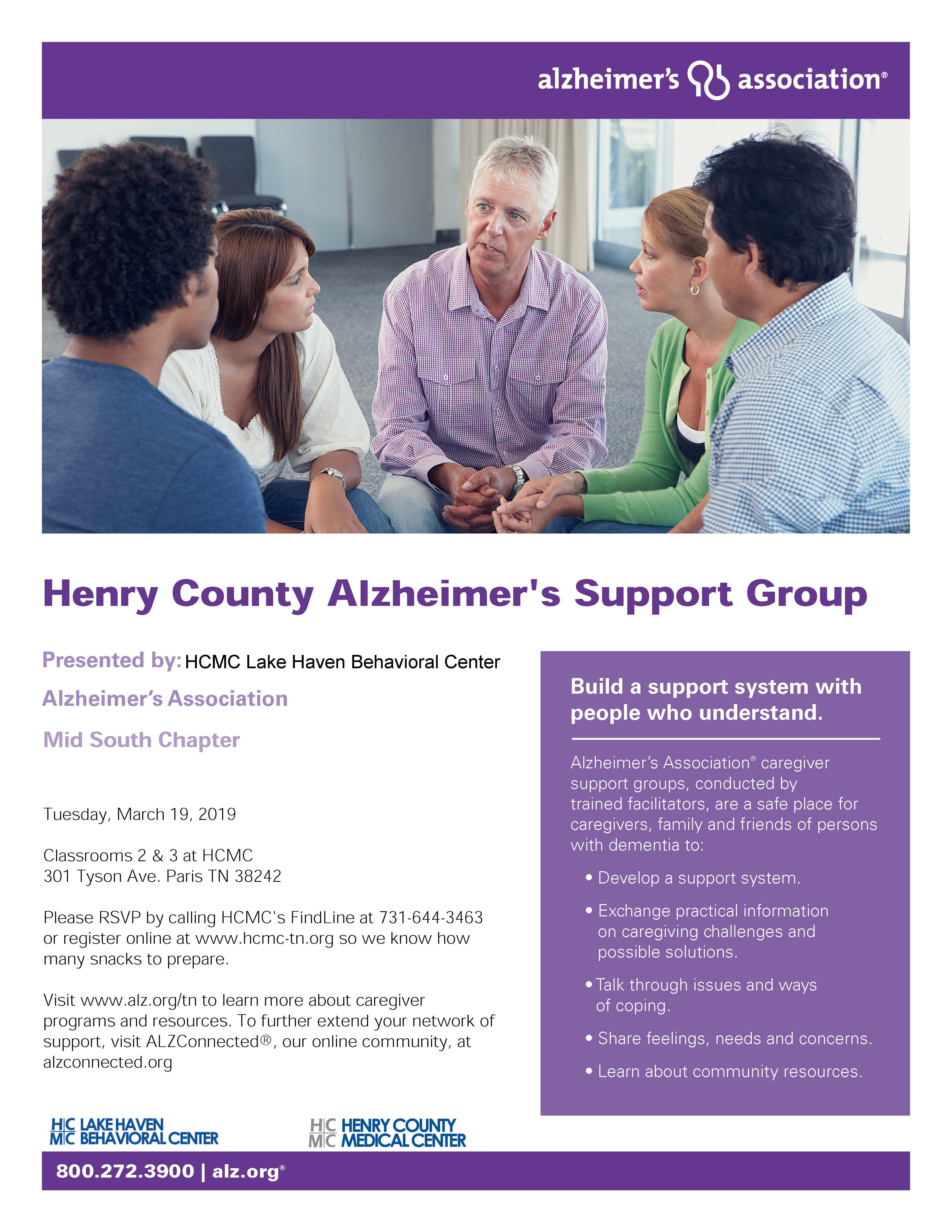 Join us for our monthly Alzheimer's Disease Support Group