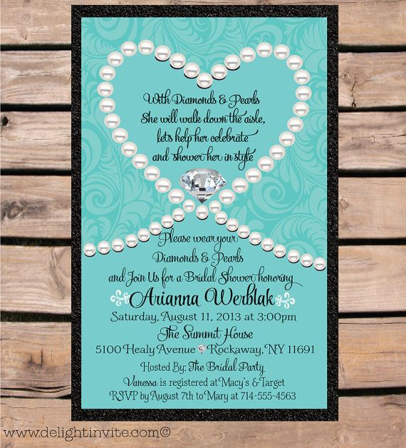 Tiffany Blue Diamonds and Pearls Bridal Shower by DelightInvite, $2.49