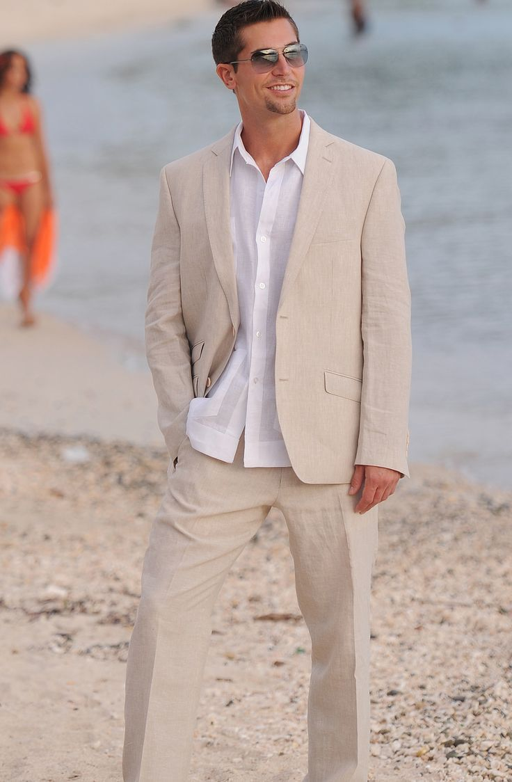 Click To Buy Summer Champagne Linen Men Suits 2016 2 Buttons Beach