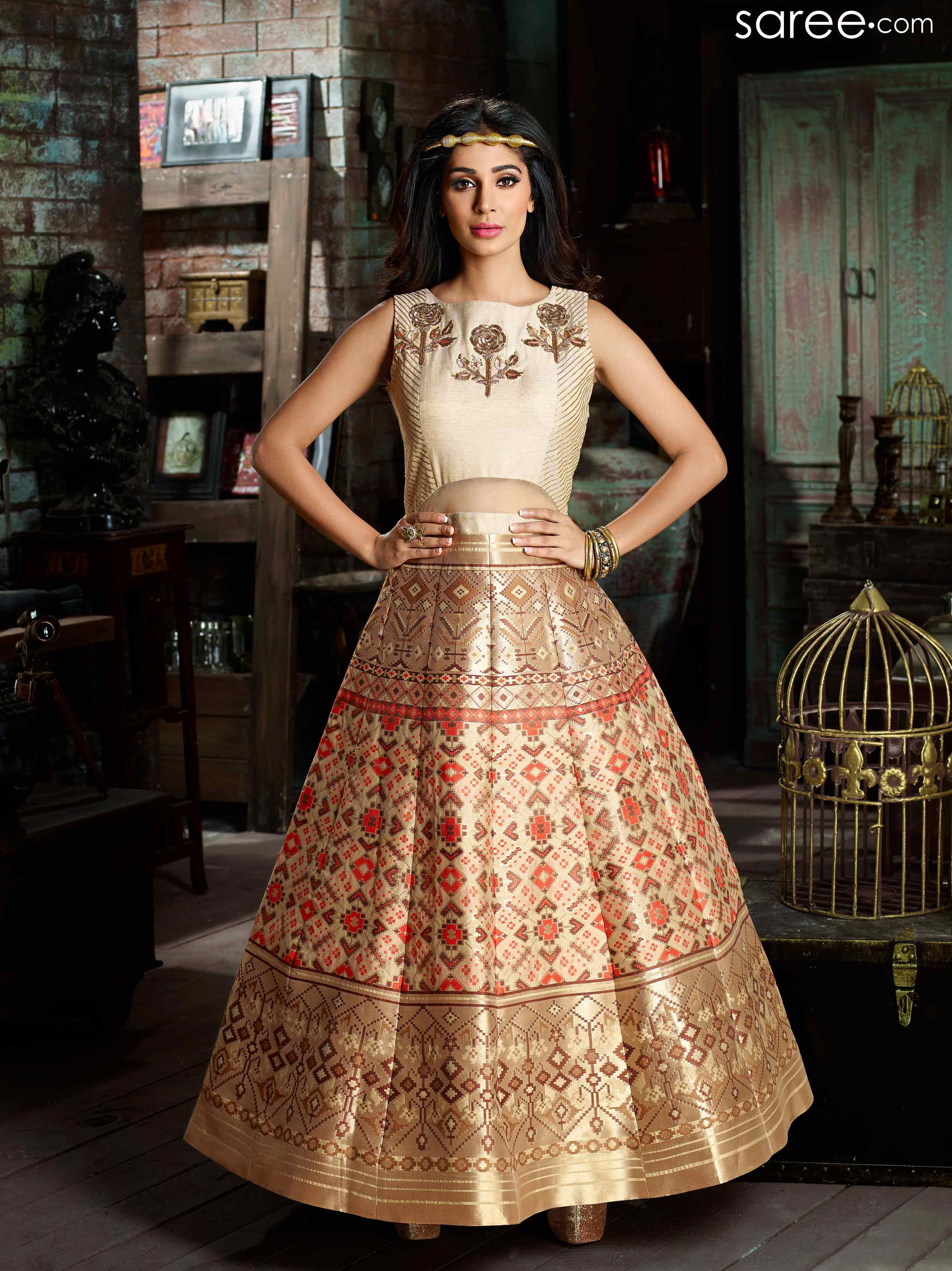MULTI COLOR BROCADE GOWN WITH ZARI WORK | Indian Indowestern Gowns ...