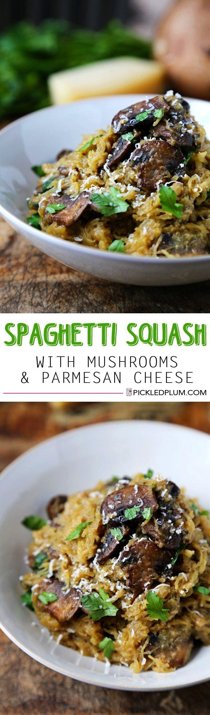 Parmesan Spaghetti Squash with Mushrooms ,  Garlic Parmesan Spaghetti Squash with Mushrooms , Garli