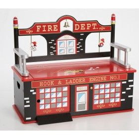 Levels of Discovery Fire Fighter Toy Box Bench $189.95 #ZooStoresPin2Win