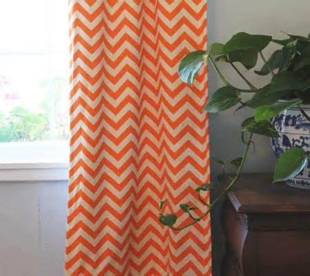 One Pair Orange And Cream Chevron Curtains By Luxurylinenloft 49 99 Chevron Curtains Chevron Nursery Orange Curtains