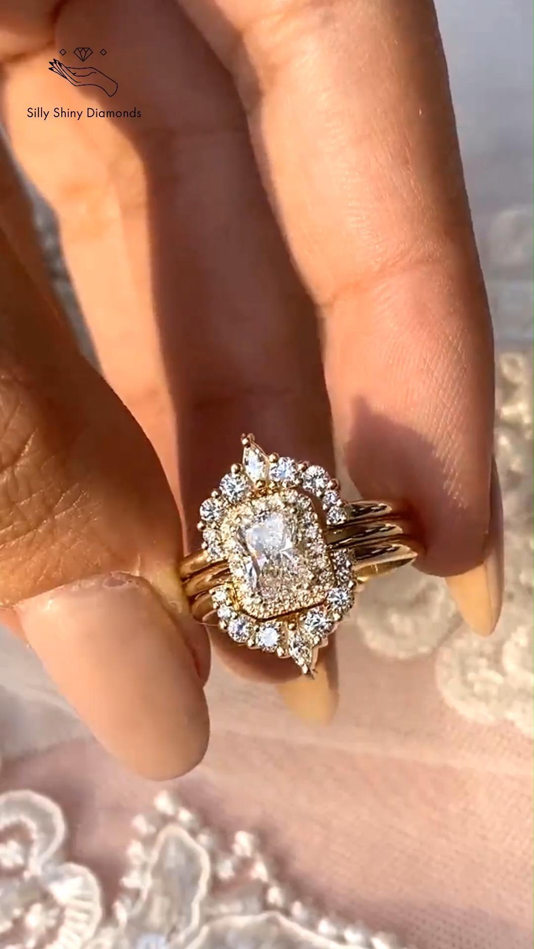 Radiant Diamond Wedding Three Ring Set, Rectangle