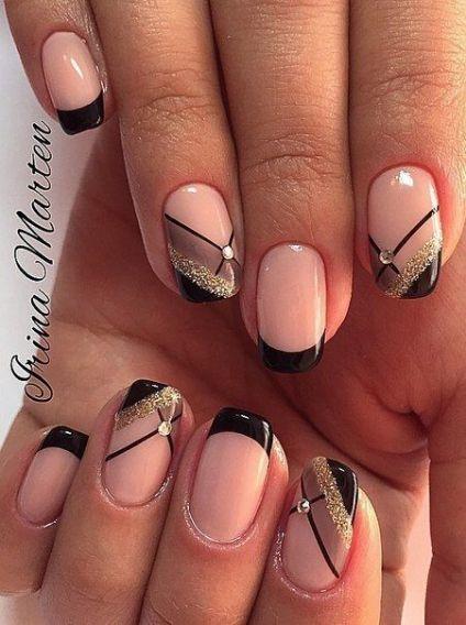 Дизайн ногтей французский маникюр черный