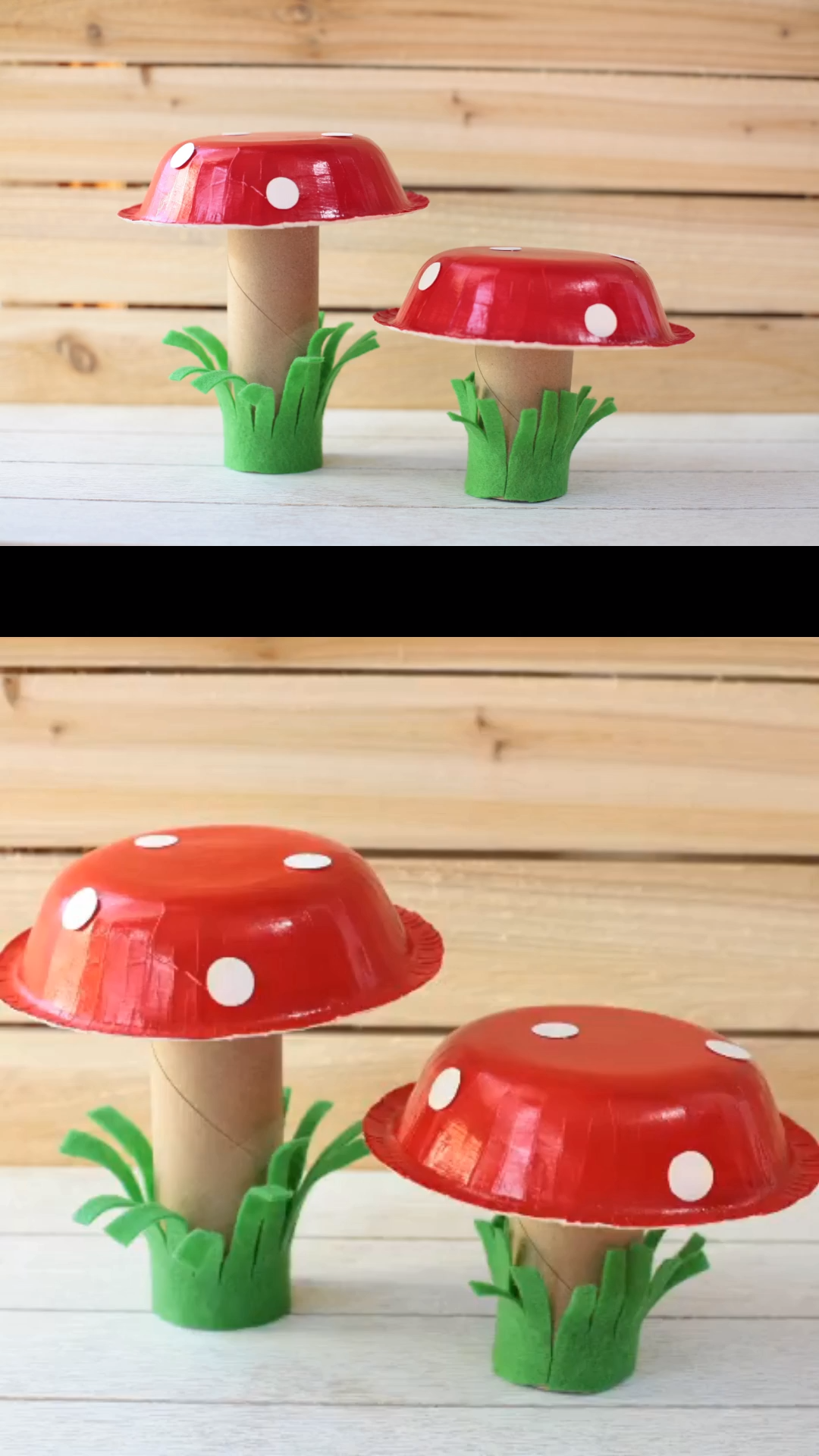 An easy mushroom craft for kids to make this spring. Use paper rolls, paper bowls and felt or construction paper. #springcraftkids #mushroomcraft #paperroll
