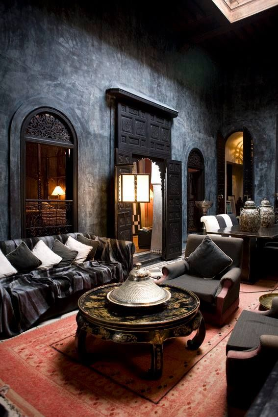 Virtual Design Room Online Free: Dreamy Arabian Nights Await In This Charcoal Grey Sitting