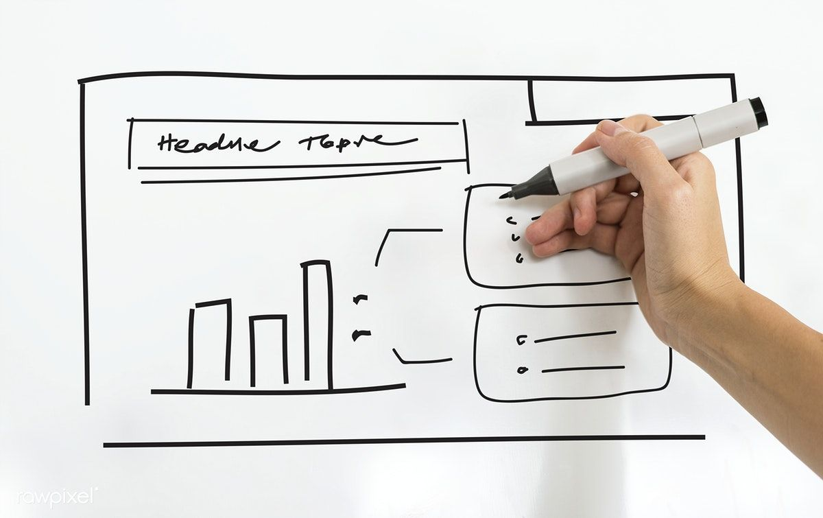 A person writing business plan on white board free image