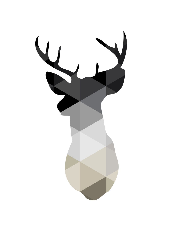 Deer Wall Art monochrome print, monochromatic art, deer antlers wall art