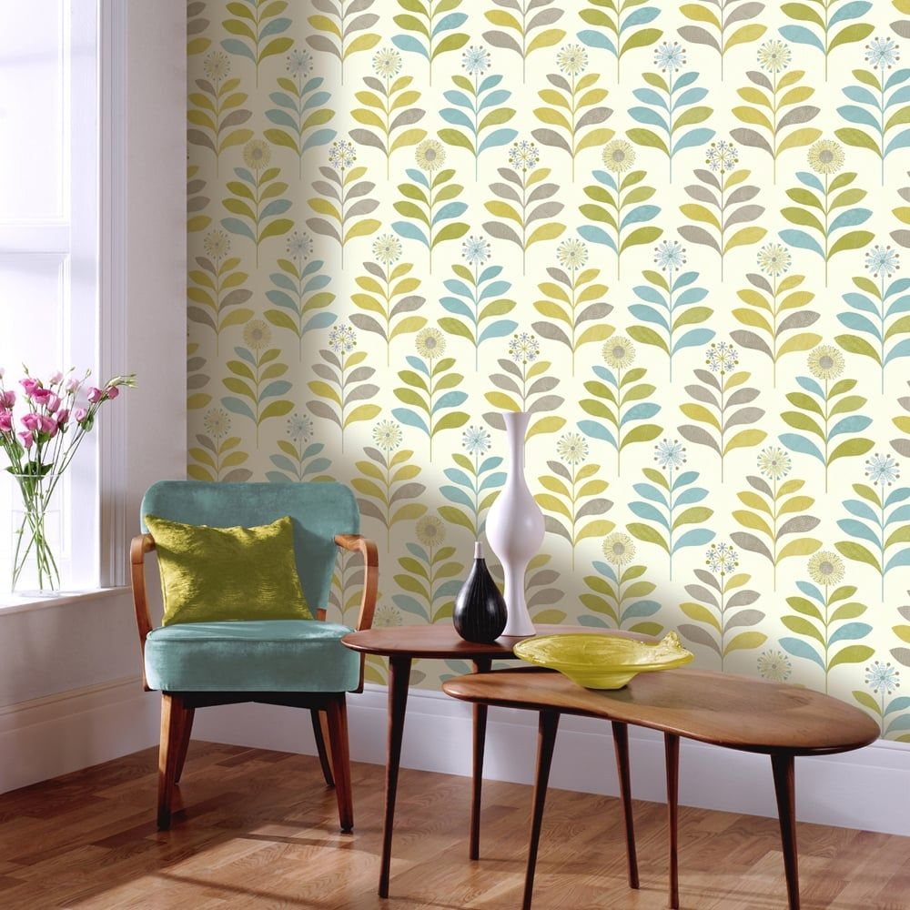 Modern Wallpaper For Kitchen Teal Lime Green 408207 Retro Leaf Motif Arthouse