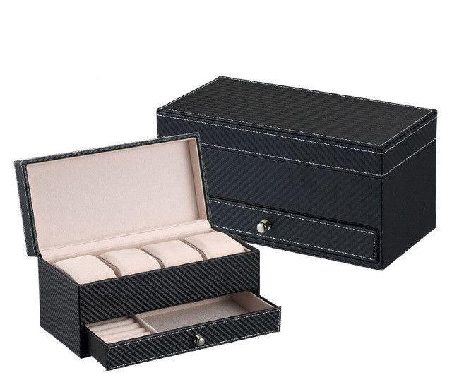High grade CF leather Jewelry Box watch Box with drawer make up organizer watch jewelry Casket storage box organizador Container